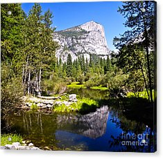 Reflection Of Mt Watkins In Mirror Lake Located In Yosemite National Park Acrylic Print by Camille Lyver