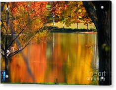Reflection  Of My Thoughts  Autumn  Reflections Acrylic Print by Peggy Franz