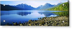Reflection Of Rocks In A Lake, Mcdonald Acrylic Print by Panoramic Images