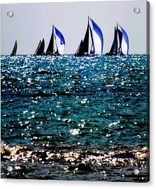 Reflection Of Sails Acrylic Print by Karen Wiles