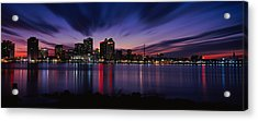 Reflection Of Skyscrapers On Water Acrylic Print by Panoramic Images
