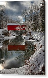 reflection of Slaughterhouse covered bridge Acrylic Print by Jeff Folger