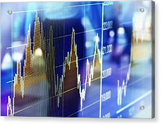 Reflection Of Stock Market Graph In Window Acrylic Print by Hiroshi Watanabe
