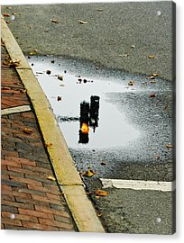 Acrylic Print featuring the photograph Reflection Of Traffic Light In Street Puddle by Gary Slawsky