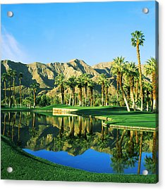 Reflection Of Trees On Water In A Golf Acrylic Print by Panoramic Images