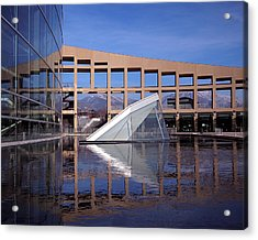 Reflections At The Library Acrylic Print by Rona Black