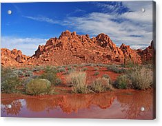 Reflections At The Valley Of Fire Acrylic Print