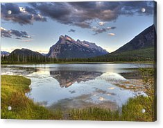 Reflections At Vermillion Lakes  Acrylic Print by Darlene Bushue