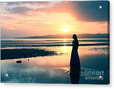 Reflections By The Sea Acrylic Print by Gee Lyon