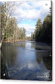 Reflections Caught On Ice At A Pretty Lake In New Hampshire Acrylic Print by Eunice Miller