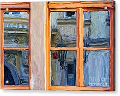 Reflections In A Window Prague Acrylic Print by Ted Guhl