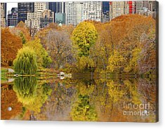 Reflections In Central Park New York City Acrylic Print by Sabine Jacobs