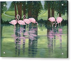 Acrylic Print featuring the painting Reflections In Pink by Karen Zuk Rosenblatt