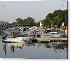Reflections In The Small Boat Harbor Acrylic Print by Kay Novy