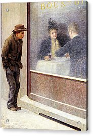 Reflections Of A Hungry Man Or Social Contrasts Acrylic Print by Emilio Longoni