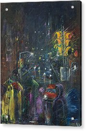 Reflections Of A Rainy Night Acrylic Print by Leela Payne