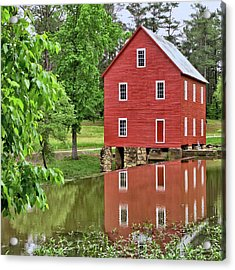 Reflections Of A Retired Grist Mill - Square Acrylic Print