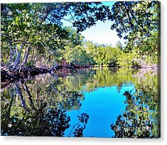 Reflections Of An Island Acrylic Print by Judy Via-Wolff