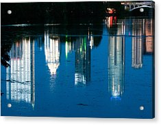 Reflections Of Austin Skyline In Lady Bird Lake At Night Acrylic Print by Jeff Kauffman