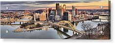Reflections Of Pittsburgh Pennsylvania Acrylic Print by Adam Jewell