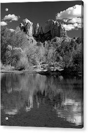 Reflections Of Sedona Black And White Acrylic Print by Joshua House
