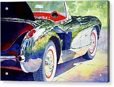 Acrylic Print featuring the painting Reflections On A Corvette by Roger Rockefeller