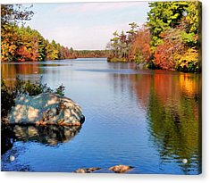 Reflections On A Fall Day Acrylic Print by Janice Drew
