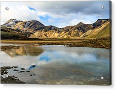 Acrylic Print featuring the photograph Reflections On Landmannalaugar by Peta Thames