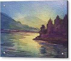 Acrylic Print featuring the painting Reflections On North South Lake by Ellen Levinson