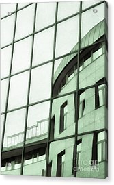Reflections On The Building Acrylic Print by Odon Czintos