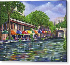 Reflections On The Riverwalk Acrylic Print by Kerri Meehan