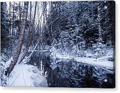 Reflections On Wintry River Acrylic Print