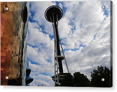 Reflections Space Needle  Acrylic Print by Robert  Moss