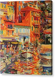 Reflections - Villefranche Acrylic Print by Peter Graham