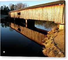 Acrylic Print featuring the photograph Reflections  Watson Mill Bridge by George Bostian