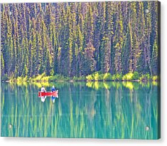 Reflective Fishing On Emerald Lake In Yoho National Park-british Columbia-canada  Acrylic Print by Ruth Hager