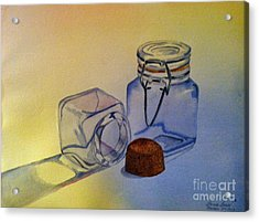 Reflective Still Life Jars Acrylic Print by Brenda Brown