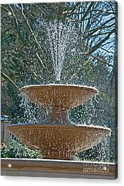 Refreshing Fountain Of Water In Sunshine Acrylic Print by Valerie Garner