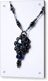 Regal Sapphire Pendant Necklace And Matching Earrings Set Acrylic Print by WDM Gallery