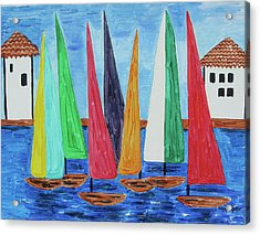Acrylic Print featuring the painting Regatta by Diane Pape