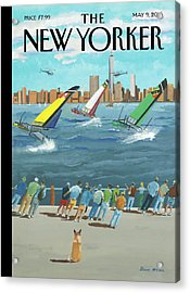 Reggata On The Hudson Acrylic Print by Bruce McCall