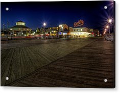 Rehoboth Beach Boardwalk At Night Acrylic Print
