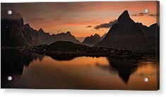 Reine Village With Dark Mountains Acrylic Print by Panoramic Images