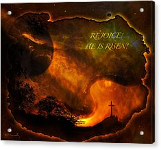 Acrylic Print featuring the digital art Rejoice - He Is Risen by J Larry Walker