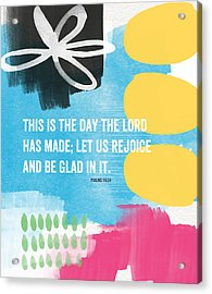 Rejoice And Be Glad- Contemporary Scripture Art Acrylic Print by Linda Woods