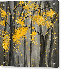 Rejuvenating Elements- Yellow And Gray Art Acrylic Print