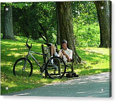 Relaxing After The Ride Acrylic Print by Susan Savad
