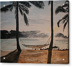 Acrylic Print featuring the painting Relaxing At The Beach by Ian Donley