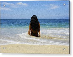 Relaxing In The Waves Acrylic Print by Aged Pixel