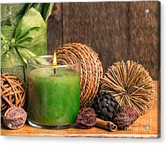 Relaxing Spa Candle Acrylic Print by Edward Fielding